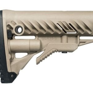 FAB DEFENSE AR15/M4 STOCK WITH BATTERY STORAGE AND RUBBER BUTTPAD FDE